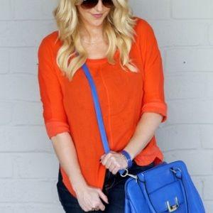 Anthro Coral Orange 9 Hi 5 St Cl Mid Sleeve Shirt
